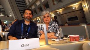 Leonardo Mellado y Beatriz Espinoza, vicepresidente y presidenta del ICOM LAC, en Kioto, Japón.